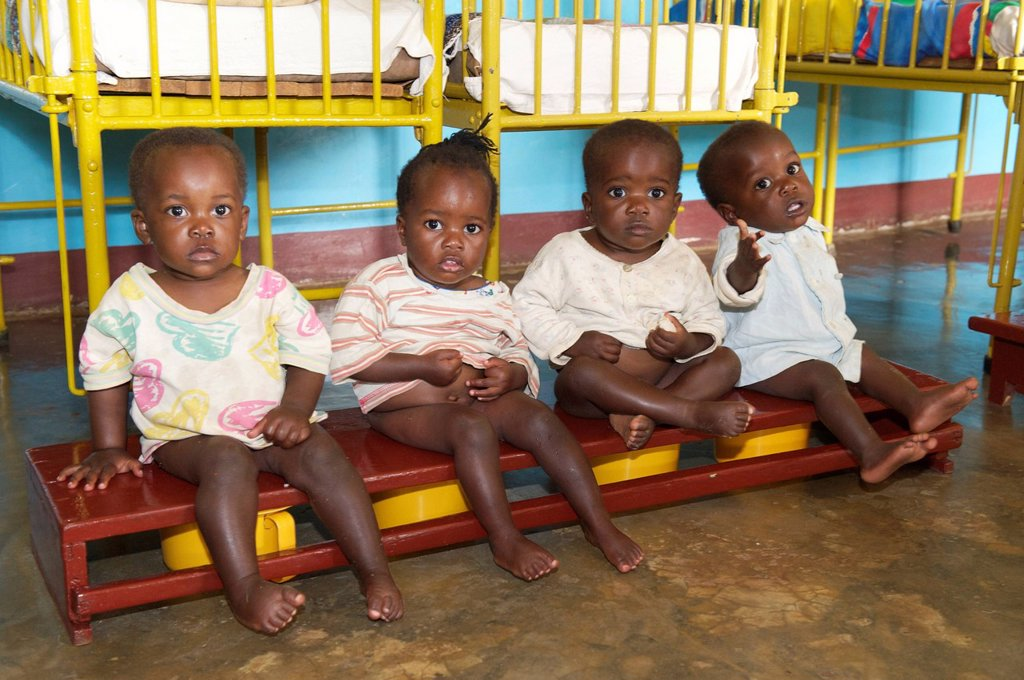 Small children on the potty in an orphanage near Bukoba, Tanzania, Africa : Stock Photo