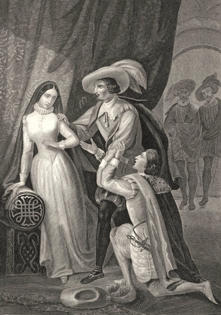 Historic steel engraving, illustration on political and social conflicts at the court of King Philip II, 1556 _ 1598, scene from Don Carlos, Infante of Spain, a drama by Johann Christoph Friedrich von Schiller : Stock Photo
