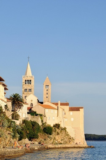 Stock Photo: 1848-65254 Bell towers, Campaniles, of Cathedral of St Mary and St Andrew´s Church in Kaldanac Quarter of Rab Town, Croatia, Europe