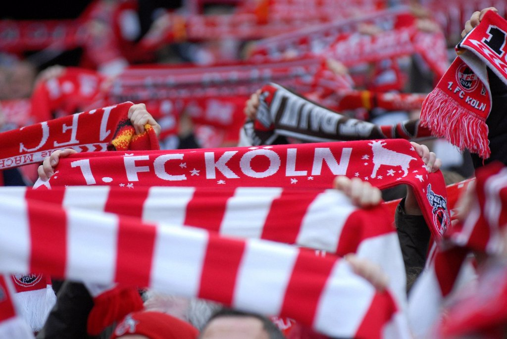 Stock Photo: 1848-652807 Cologne fans holding up their scarves, Bundesliga federal league, 1. FC Koeln _ FSV Mainz 05 4:2, Rhein_Energie_Stadion, Cologne, North Rhine_Westphalia, Germany, Europe