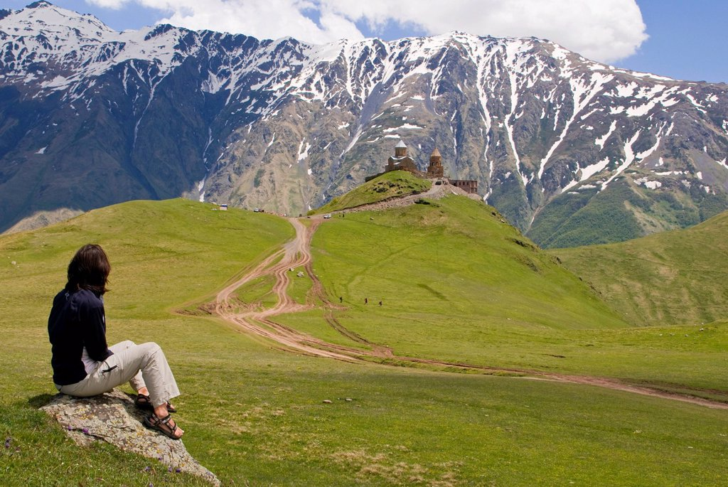 Stock Photo: 1848-652831 Young woman enjoying the view on the mountain scenery around Kazbegi, Stepantsminda, Georgia, Middle East