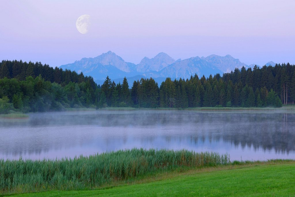 Stock Photo: 1848-652899 Lake Hegratsrieder with the moon, composing, near Fuessen, Allgaeu, Bavaria, Germany, Europe