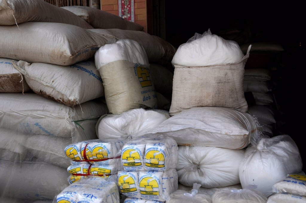 Bags of rice, Phnom Penh, Cambodia, Asia : Stock Photo