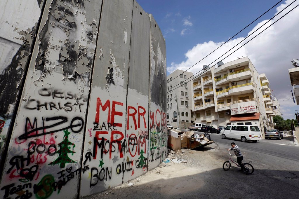 Stock Photo: 1848-653322 Wall with graffiti, Palestinian side, between Bethlehem, West Bank and Jerusalem, Israel, Middle East