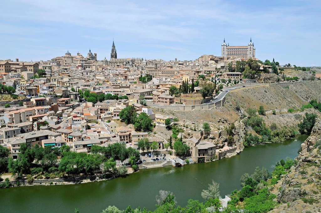 Stock Photo: 1848-653579 Cityscape, Tagus River, Rio Tajo, Toledo Cathedral, Alcazar, Castillo, Castle, Old Town, Toledo, Castile–La Mancha, Spain, Europe, PublicGround