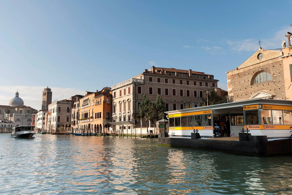 Stock Photo: 1848-653793 Vaporetto station San Marcuola, Church of San Marcuola, Palazzo Gritti and Palazzo Correr Contarini, Canal Grande, Venice, Veneto, Italy, Southern Europe