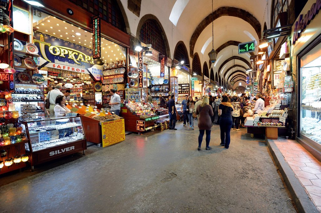 Stock Photo: 1848-653861 Main aisle, indoor spice bazaar, Egyptian bazaar, Eminoenue, Istanbul, Turkey, Europe, PublicGround