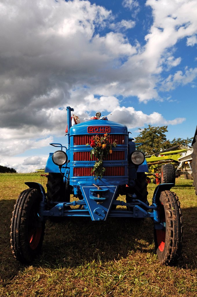 Stock Photo: 1848-654234 Antique tractor meeting, Roehr tractor, built in 1952, Morschreuth, Upper Franconia, Bavaria, Germany, Europe