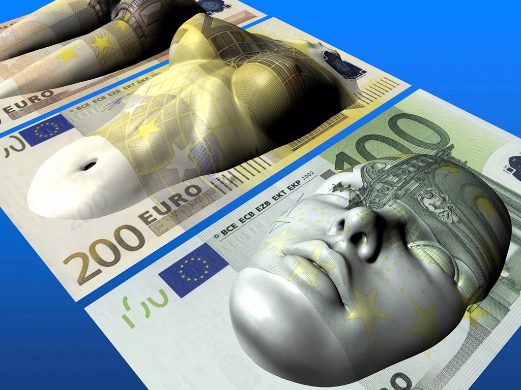 Stock Photo: 1848-654239 Body and face on Euro banknotes, symbolic image for plastic surgery
