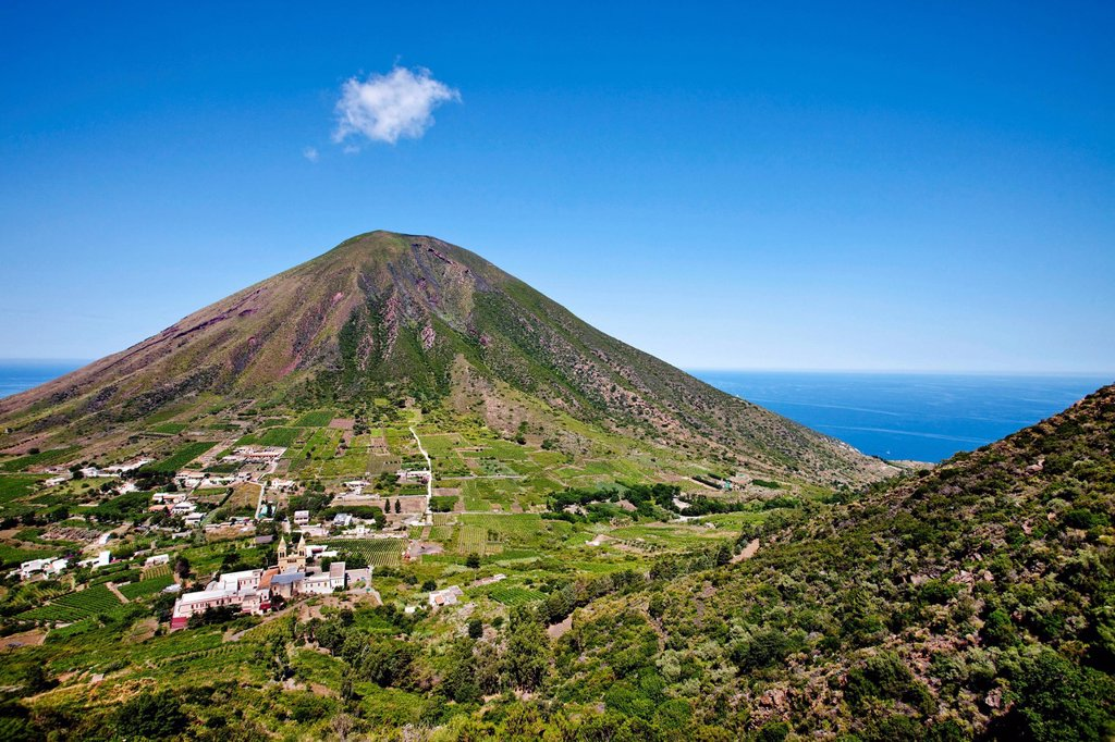 Stock Photo: 1848-654253 View from Monte Fossa delle Felice towards Monte dei Porri, Salina, Aeolian Islands, Sicily, Italy, Europe