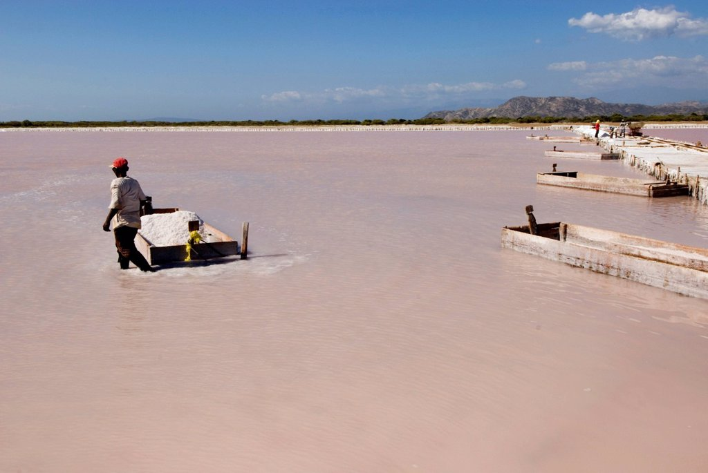 Stock Photo: 1848-654556 Saltworks in Salinas near Bani on the southern coast, 70 km west of Santo Domingo, Dominican Republic