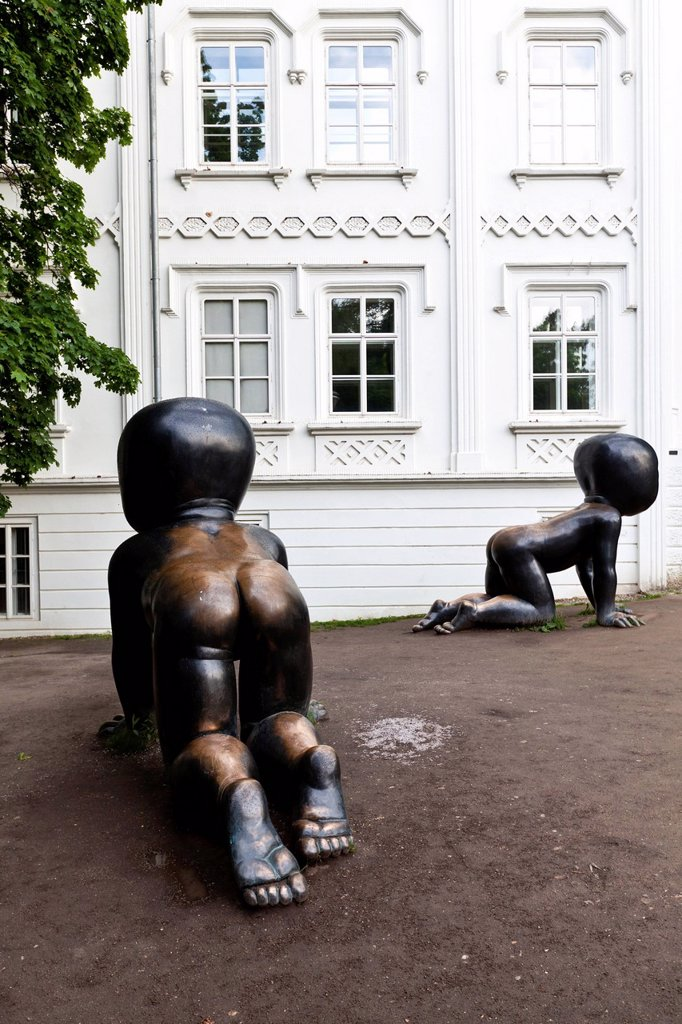 Bronze figures, Museum Kampa, Prague, Czech Republic, Europe : Stock Photo