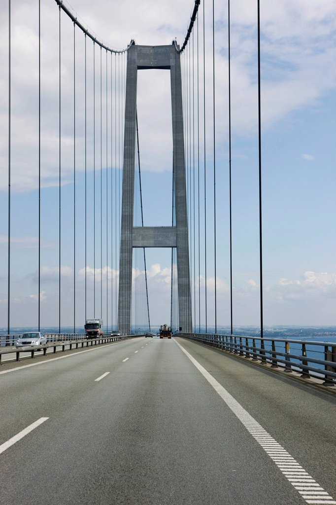Storebæltsforbindelsen or Great Belt Bridge, South Denmark, Denmark, Europe : Stock Photo
