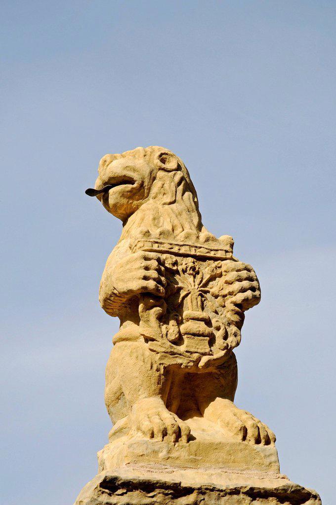 Lion, heraldic animal, sculpture, cathedral, Segovia, Castile and León, Spain, Europe, PublicGround : Stock Photo