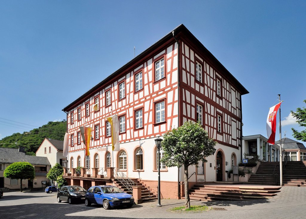 Town hall, Lorch, Upper Middle Rhine Valley, a Unesco World Heritage Site, Hesse, Germany, Europe : Stock Photo