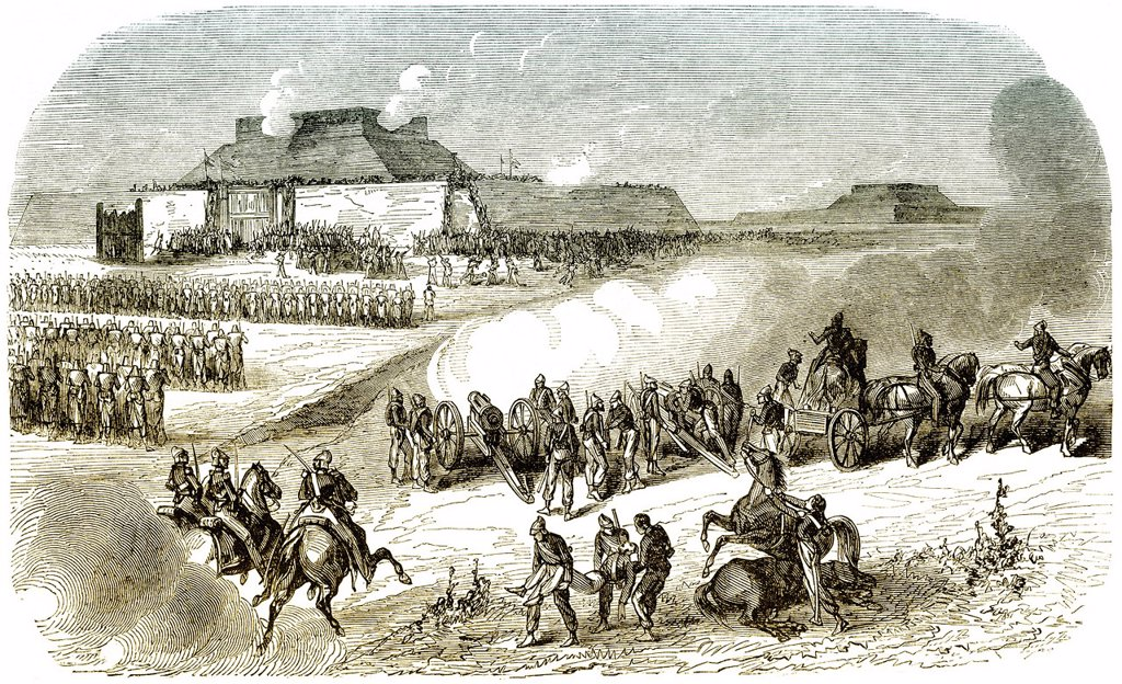 Historic drawing, 19th century, scene from the history of France, Anglo_French troops attacking the Dagu forts, Taku forts or Peiho forts in Tanggu, Tianjin, China, 1860, during the Second Opium War : Stock Photo