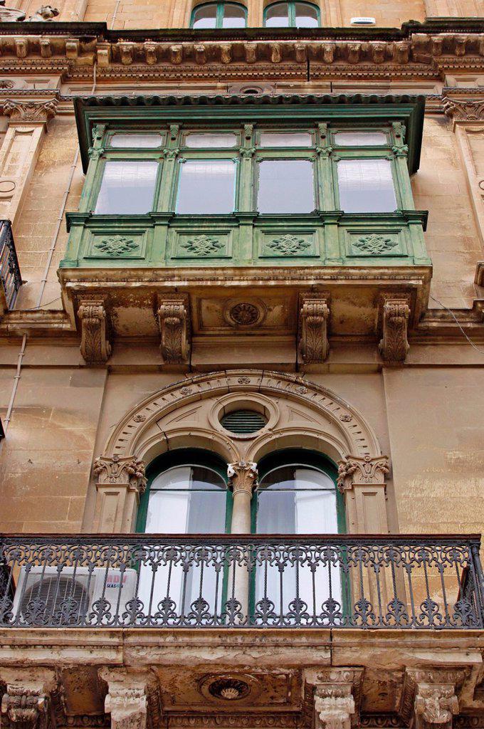 Stock Photo: 1848-655339 Typical Maltese balconies, Valletta, Malta, Europe