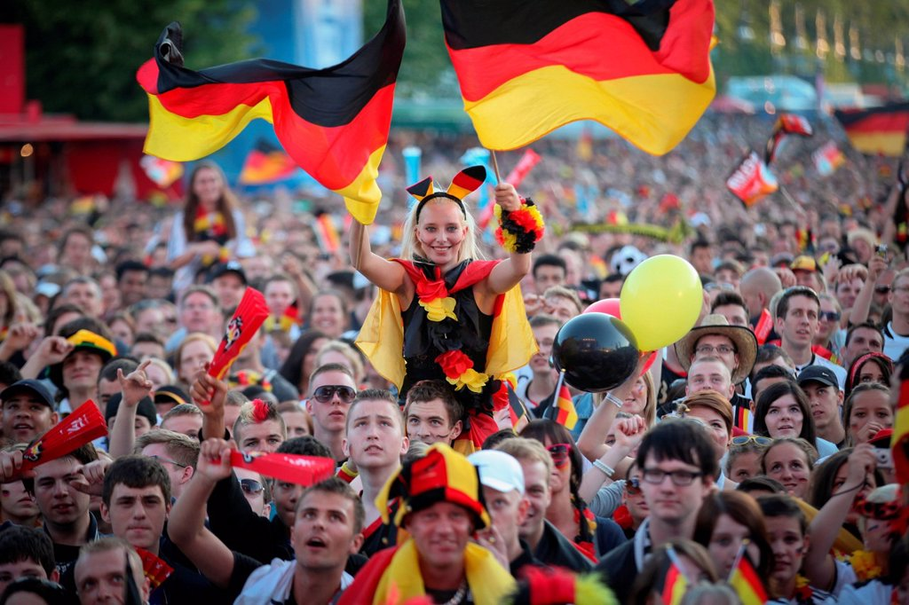 Euro 2012, fans of the German national football team at the Fan Mile during the first round match against Portugal, Berlin, Germany, Europe : Stock Photo
