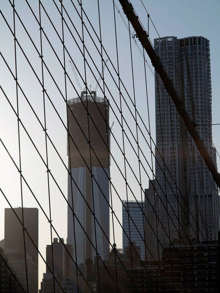 Stock Photo: 1848-655494 Freedom Tower under construction, One World Trade Center, view from Brooklyn Bridge to the Financial District, New York City, USA, North America, America