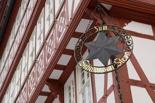 Schwarzer Stern black star traditional restaurant at Roemer, Frankfurt am Main, Hesse, Germany, : Stock Photo