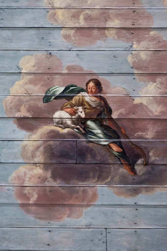 Ceiling painting by Barthold Conrath, 1704, 1961 extensively restored, one of the most important Baroque paintings in Schleswig_Holstein, St. Lawrence´s Church, Tonning, Eiderstedt, Schleswig_Holstein, Germany, Europe : Stock Photo
