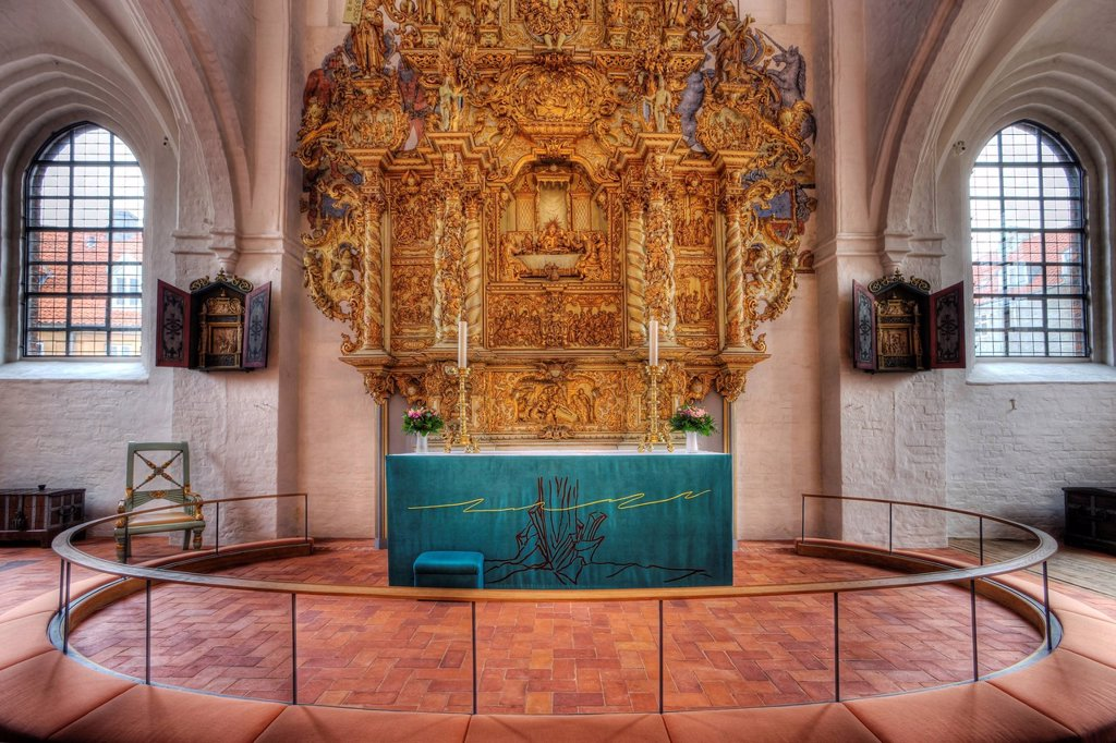 Stock Photo: 1848-656191 The altar in Sct. Olai Domkirke cathedral, Helsingør, Elsinore, Denmark, Europe