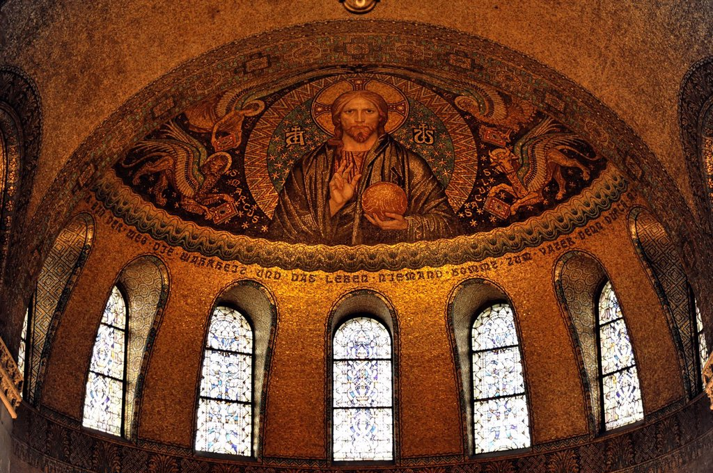 Erloeserkirche church, interior view, Christ Pantocrator above the apse, start of construction in 1903, Bad Homburg v. d. Hoehe, Hesse, Germany, Europe : Stock Photo