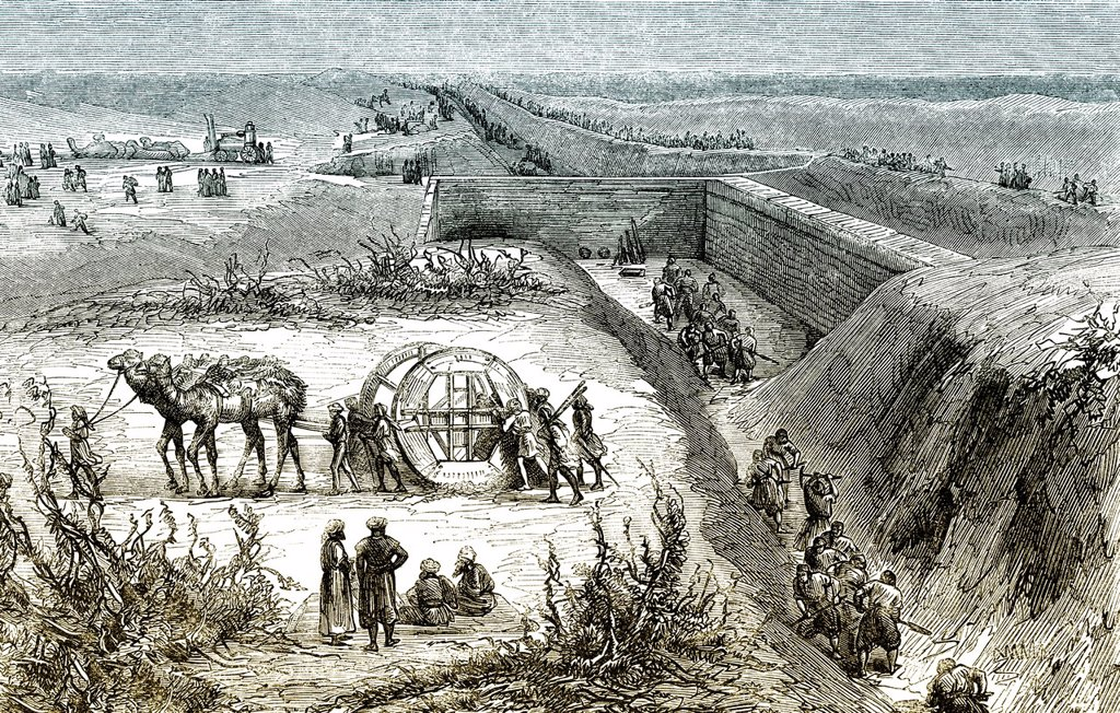 Historic drawing, 19th century, workers constructing the Suez Canal, 1861 : Stock Photo
