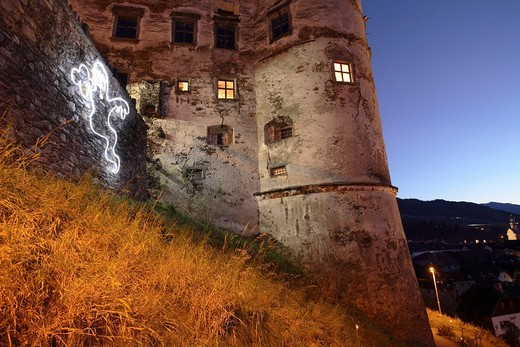 Stock Photo: 1848-65679 Old castle in Gmuend / Carinthia at night, Carinthia, Austria