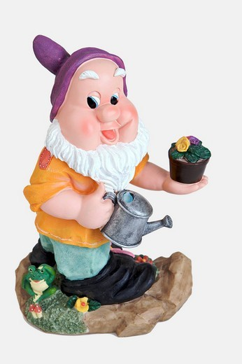Garden gnome watering plants : Stock Photo