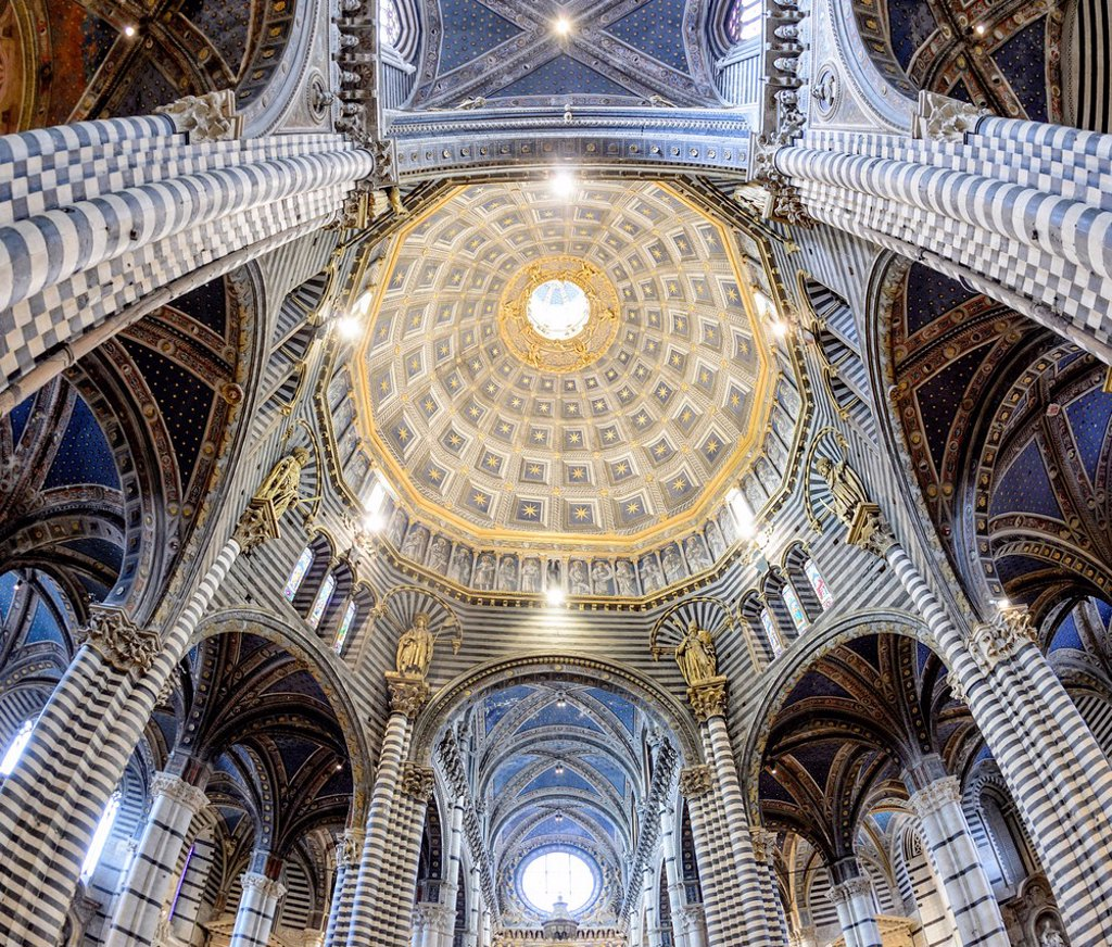 Stock Photo: 1848-656923 Interior view, dome of the Cathedral of Siena, Cattedrale di Santa Maria Assunta, main church of the city of Siena, Tuscany, Italy, Europe