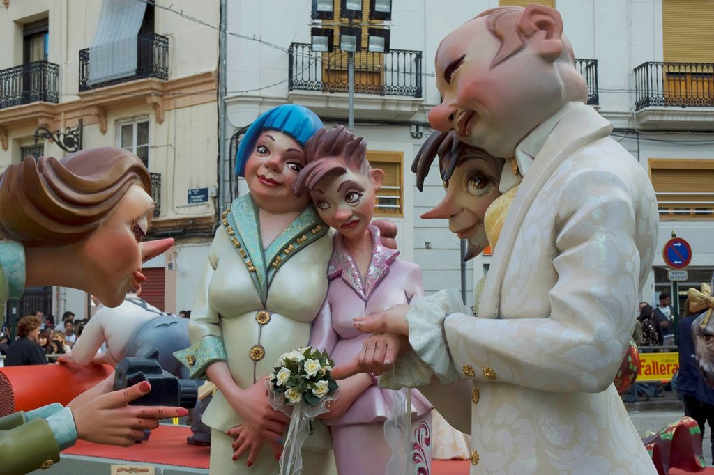 Stock Photo: 1848-657023 Crude carnival characters and satirical sculptures at a parade, Fallas festival, Falles festival in Valencia in early spring, Spain, Europe