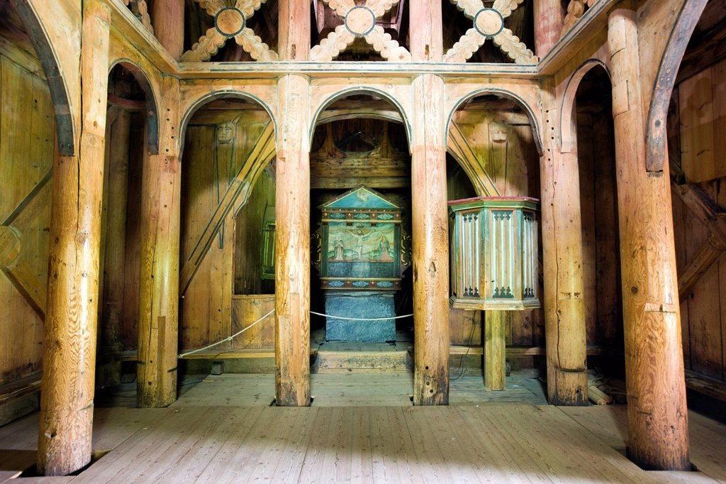 Borgund Stave Church, interior view, Norway, Scandinavia, Europe : Stock Photo