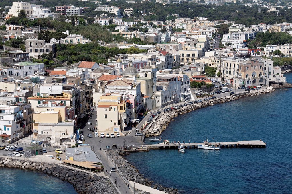View of Ischia Ponte, from Castello Aragonese, Aragonese Castle, Ischia Island, Gulf of Naples, Campania, Southern Italy, Italy, Europe : Stock Photo