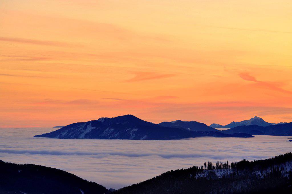 Sunrise above mountain tops with fog, Sonthofen, Allgaeu, Bavaria, Germany, Europe : Stock Photo