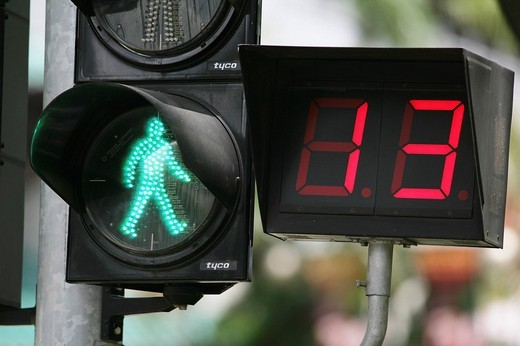 SGP, Singapore: Traffic light for pedastrians, display shows the remaining time. , : Stock Photo
