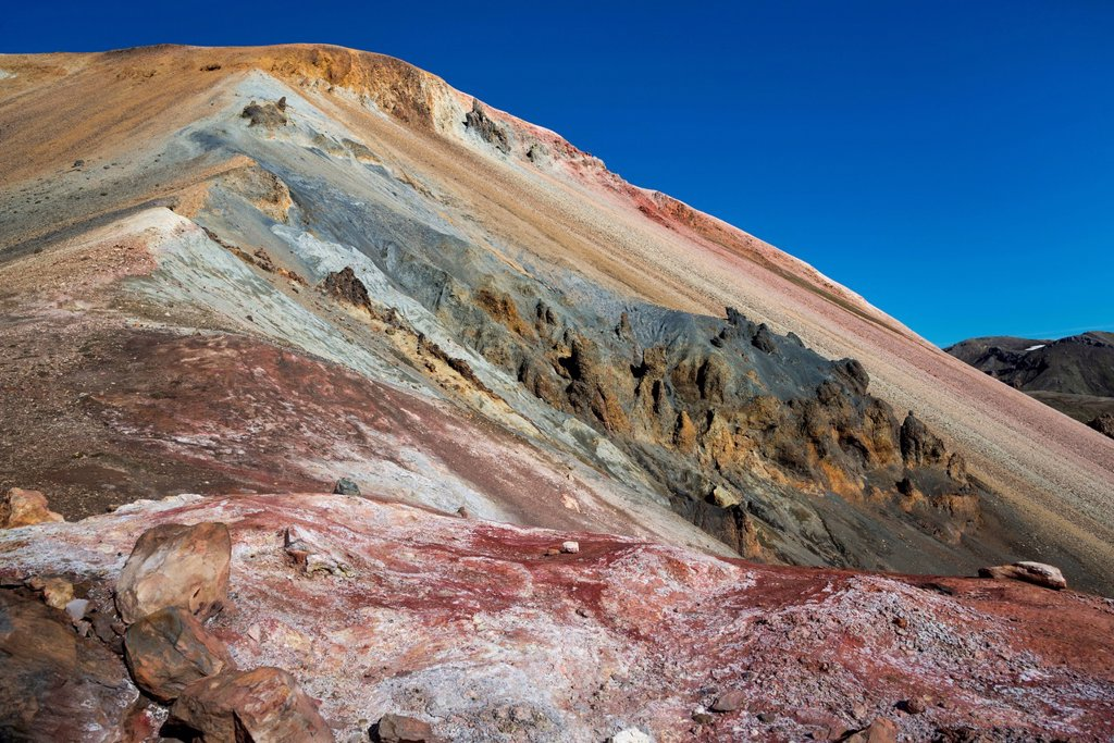 Stock Photo: 1848-657828 Mineral field, iron deposits, Brennisteinsalda volcano with the Laugahraun lava field, rhyolite mountains, Landmannalaugar, Fjallabak Nature Reserve, Highlands, Iceland, Europe