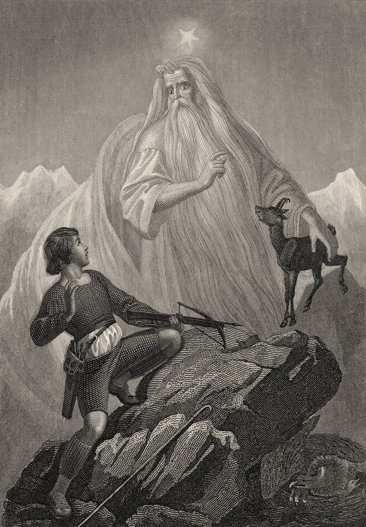 Stock Photo: 1848-658082 Historic steel engraving, Swiss folk tale about the mountain spirit as a protector of chamois, a scene from The Hunter, a poem by Johann Christoph Friedrich von Schiller