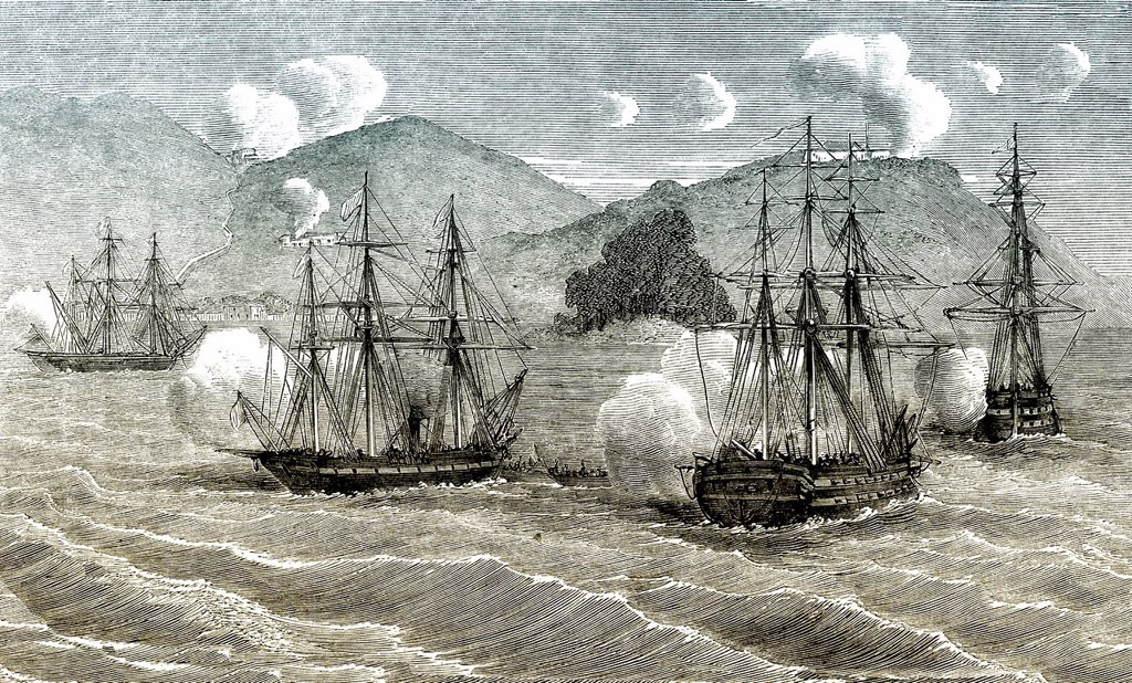 Historic drawing, 19th century, scene from the history of France, the French fleet off the coast of Cochinchina, Vietnam and Cambodia, former French colonies, during the invasion in 1861 : Stock Photo