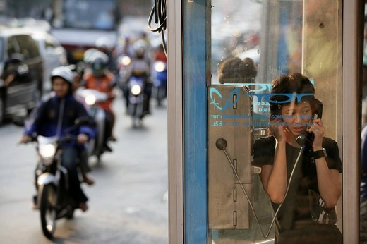 Stock Photo: 1848-65845 THA Thailand Bangkok Public Phone both