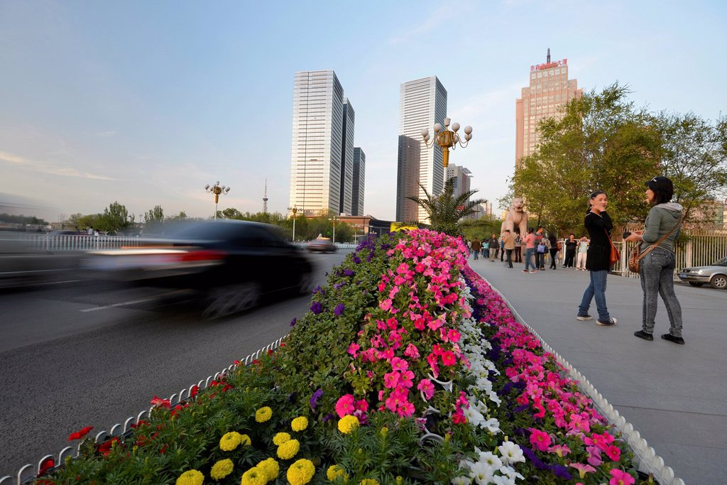 Stock Photo: 1848-658506 Flower beds on a highway, new skyline of Ueruemqi at the back, Silk Road, Xinjiang, China, Asia