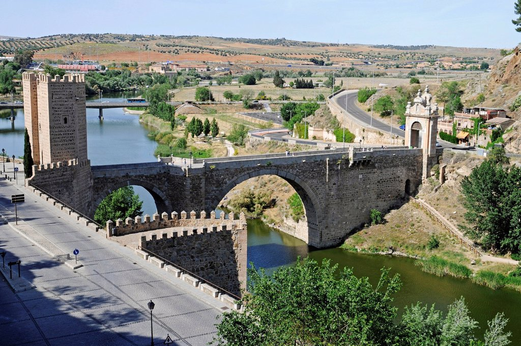 Stock Photo: 1848-658521 Puente de Alcantara, bridge over the Tagus river, Rio Tajo, Toledo, Castile–La Mancha, Spain, Europe, PublicGround