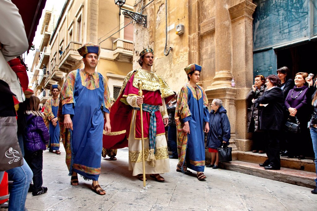 Stock Photo: 1848-658661 Maundy Thursday Procession, Procession del Giovedì Santo, Marsala, Sicily, Italy, Europe