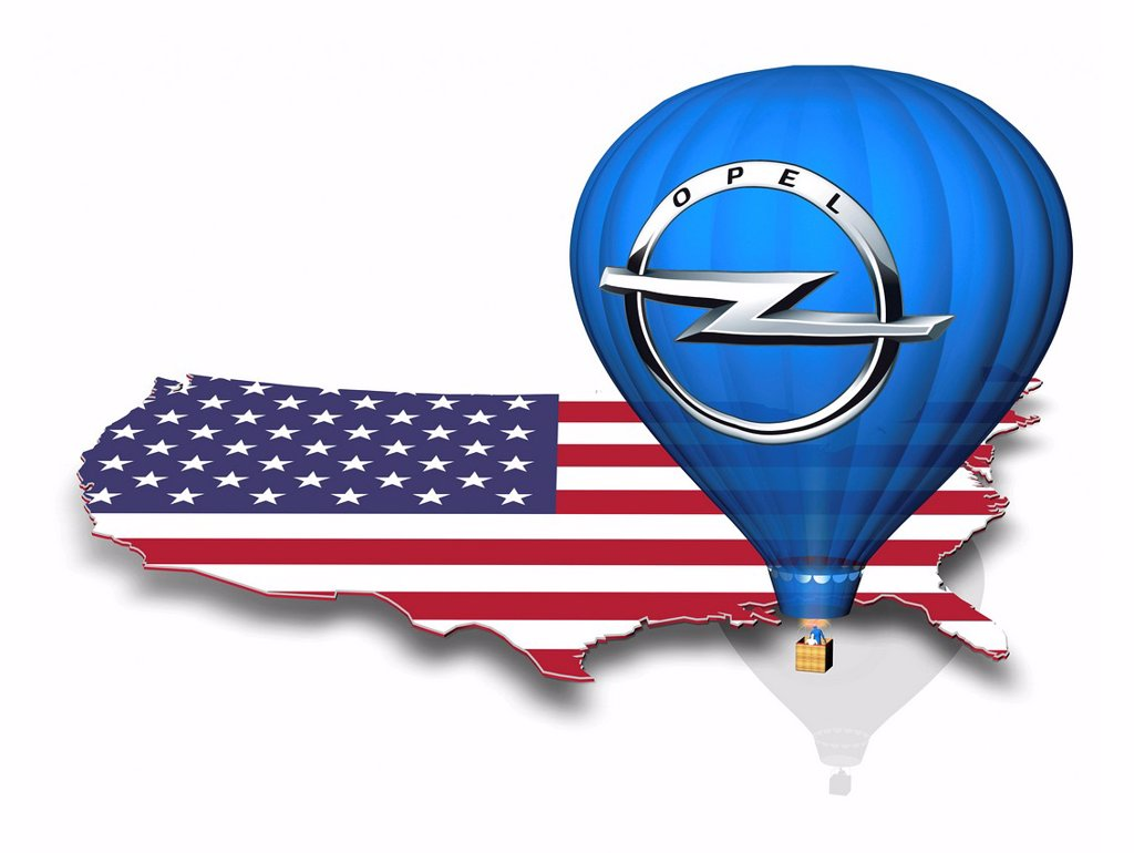 Outline of the U.S. with the national flag, hot air balloon with the logo of Opel : Stock Photo