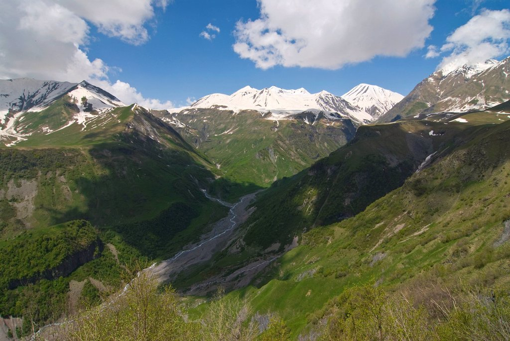Stock Photo: 1848-658995 Caucasus mountains along the military road to Kazbegi, Georgia, Caucasus, Middle East