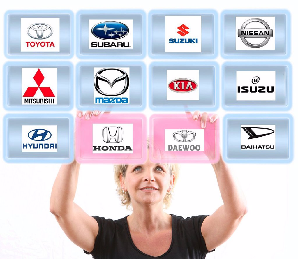 Stock Photo: 1848-659301 Woman working with a virtual screen, touch screen, Asian car brands