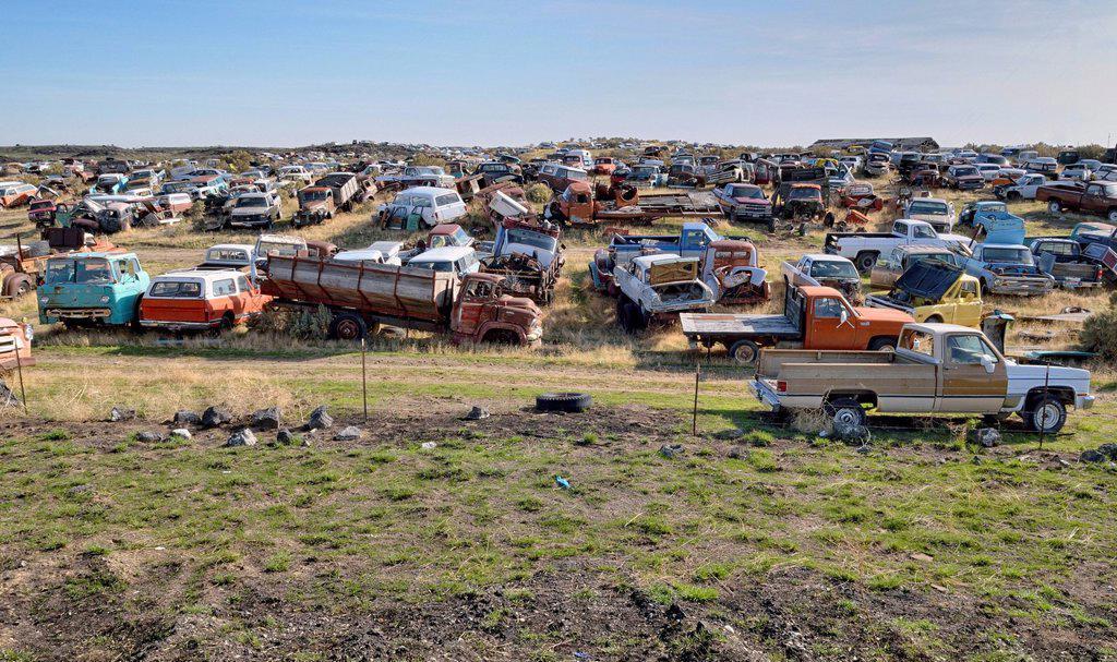 Stock Photo: 1848-659336 Breakers´ yard, Wendell, Highway 46, Idaho, USA, PublicGround