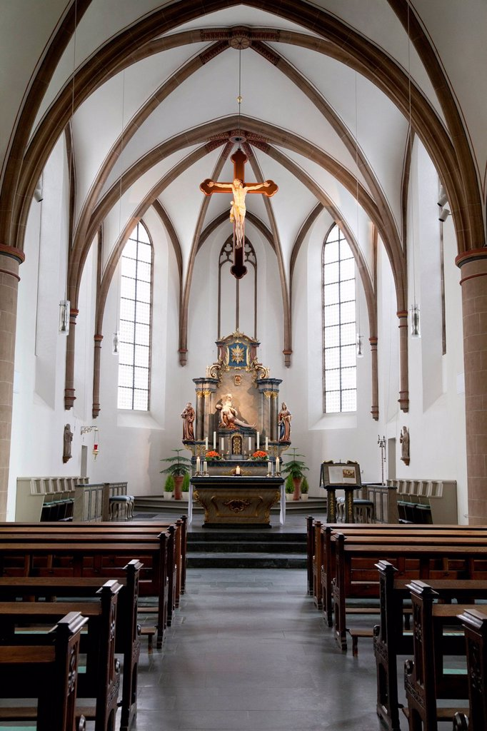 Stock Photo: 1848-659352 Interior view and the sanctuary of Marienkirche Church, Franciscan monastery, Wiedenbrueck, Rheda_Wiedenbrueck, Muensterland region, North Rhine_Westphalia, Germany, Europe