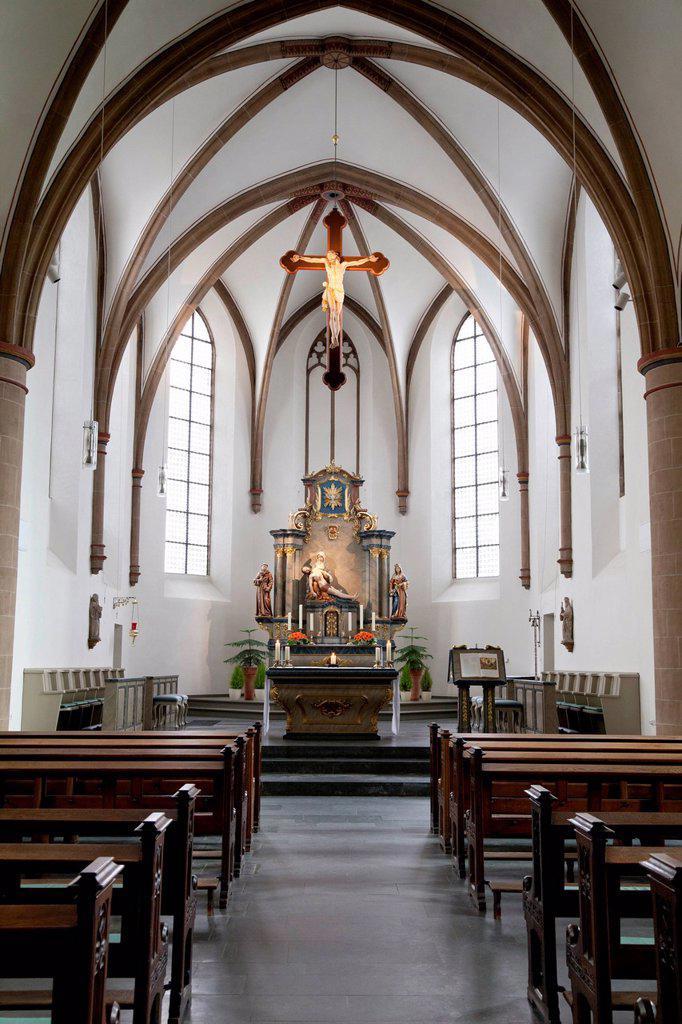 Interior view and the sanctuary of Marienkirche Church, Franciscan monastery, Wiedenbrueck, Rheda_Wiedenbrueck, Muensterland region, North Rhine_Westphalia, Germany, Europe : Stock Photo