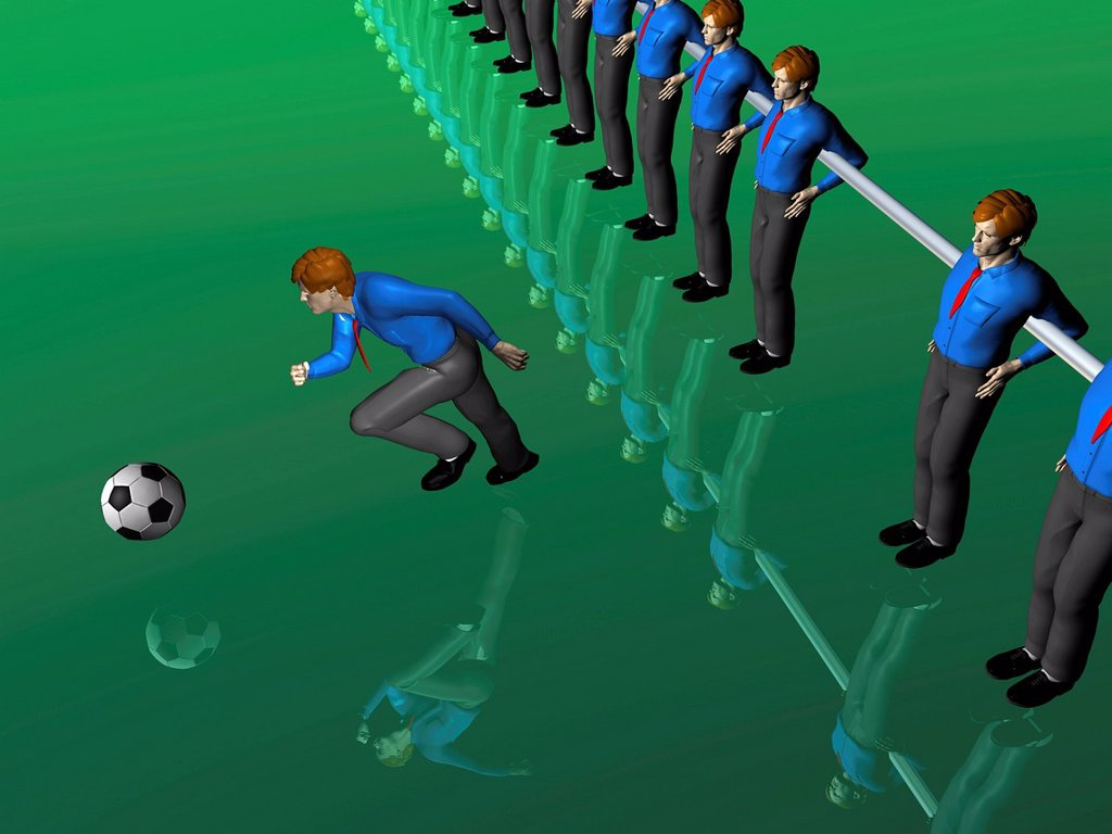 Stock Photo: 1848-659444 Table soccer figures, one running after the ball, illustration, symbolic image